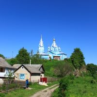 Noviy Korets. Sts. Cosmas and Damian church from the village street., Корец