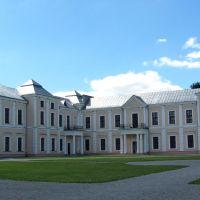 Центральный фасад дворца,выгледит вполне пристойно, в здании находятся картины, портреты, бывших обитателей замка., Вишневец