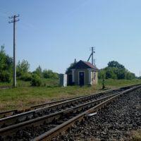 Станция Лановцы. Стрелочный пост. Вид в сторону Лепесовки, Лановцы