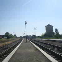 Станция Лановцы. Вторая платформа.  Вид в сторону Лепесовки, Лановцы
