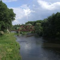 Seret river and railway bridge near Chortkiv, Чортков