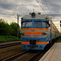 Электропоезд ЭР-2 прибывает на ст. Водолага. ER-2 electric train arriving on Vodolaga st., Новая Водолага