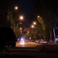 end of Ushakova avenue at night, Херсон