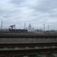 Станция Волочиск. Площадка для погрузки леса и козловой кран, Волочиск