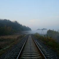 Железнодорожная линия Гусятин - Ярмолинцы. Перегон Виктория - Новолисогорка. Туман над дорогой, Городок