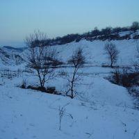 Вигляд на ставок у зимовий період., Сокиряны