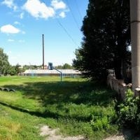 Panorama спортивной площадки школы, Липовец