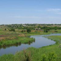 Криворіжжя, річка Інгулець. Позаду сел. Зелене., Ингулец