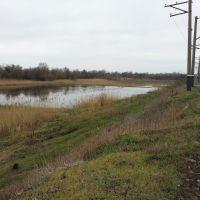 Сезонный водоем, вдали железнодорожный мост, Марганец