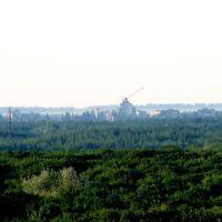 Центр Павлограда с расстояния  8 км. Вид с Приволчанки, 12х зум. (июль 2008), Павлоград