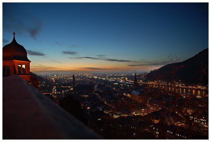 Night view from Heidelberg Castle, Хейдельберг