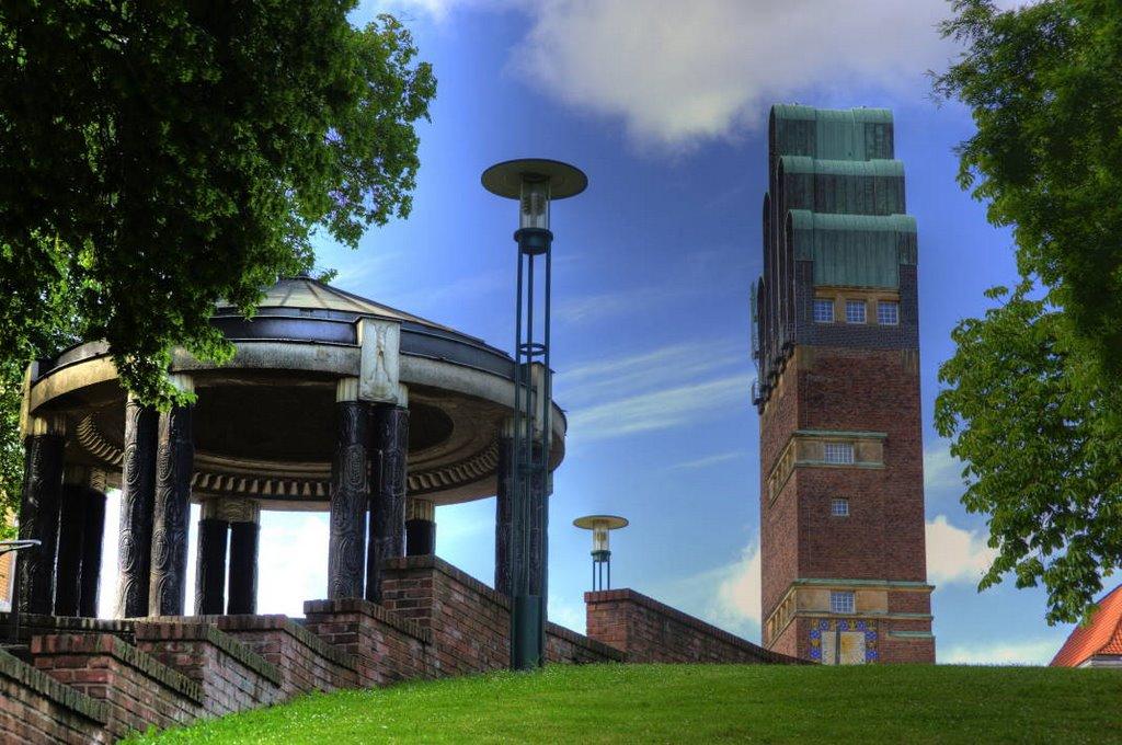 Darmstadt Mathildenhöhe Pavillon und Hochzeitsturm, Дармштадт