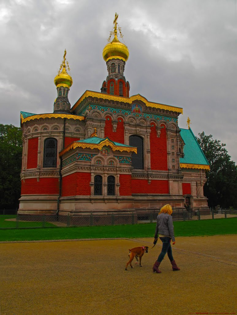 GER Darmstadt Russische-Orthodoxe-Kapelle Maria-Magdalena in Europaplatz by KWOT {Subtitle: Gold Tops Everywhere... by KWOT}, Дармштадт
