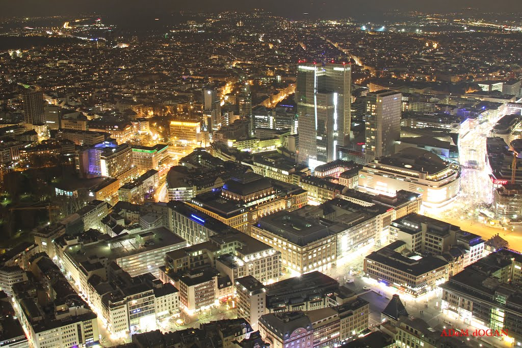 Frankfurt Main at night to Borfel, Франкфурт-на-Майне