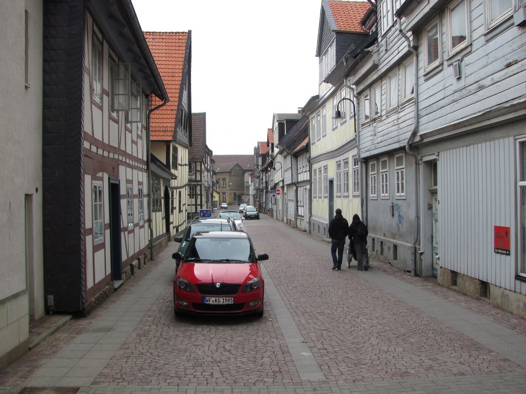 Enge Straße in Wolfenbüttel mit Blick zum Gefängnis, Волфенбуттель