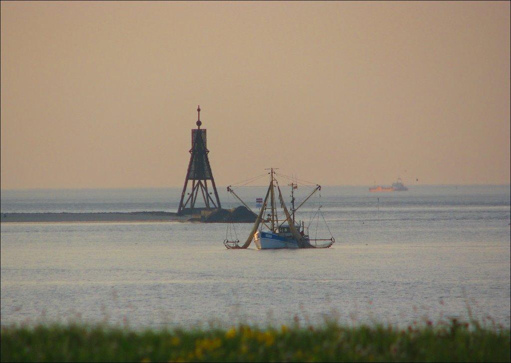 Kleiner Krabbenfischer abends vor der Kugelbake in Cuxhaven, Куксхавен