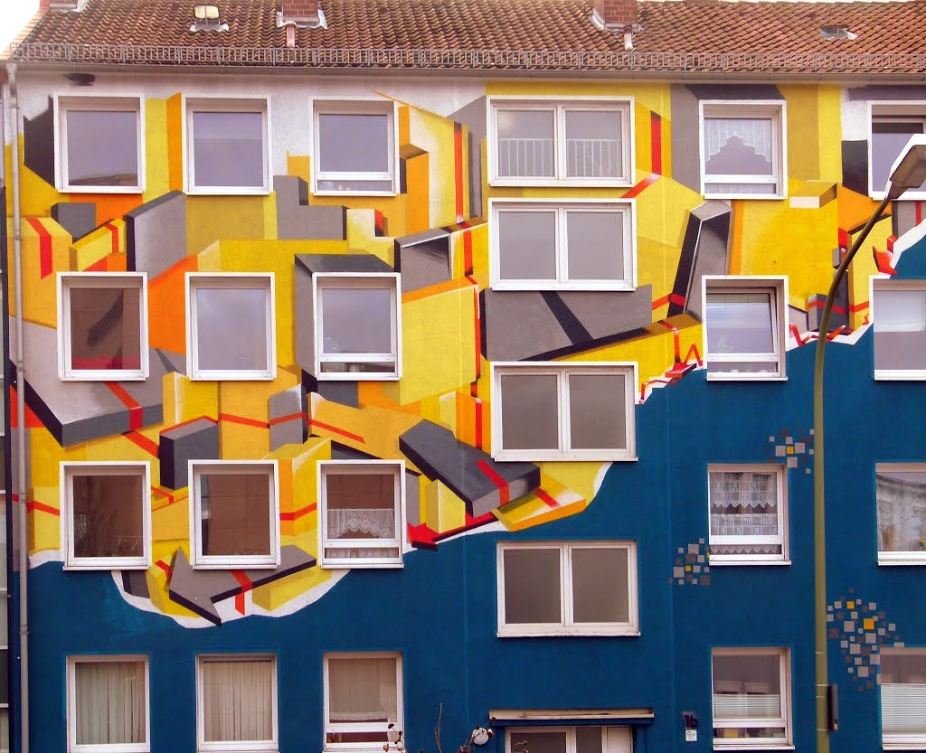 Buntes Haus in Osnabrück: so lassen sich langweilige Häuser wenigstens ein wenig interessanter machen, Оснабрюк