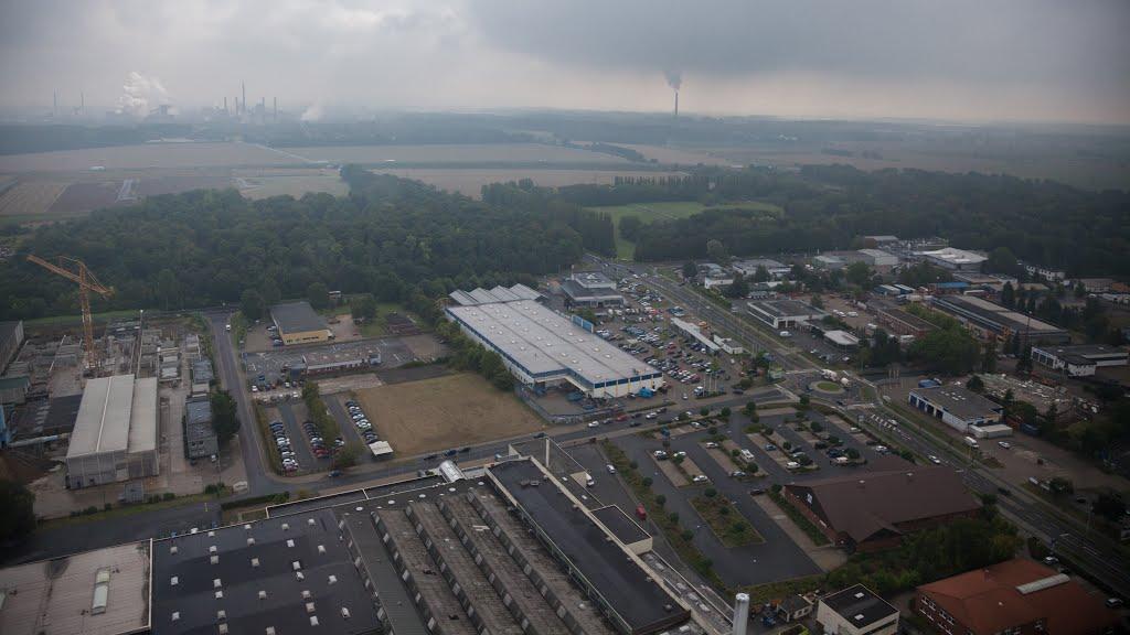 Luftaufnahme   Kreisverkehr, Neißestraße, ehem. Praktiker, Kanalstraße, SZ AG, Salzgitter