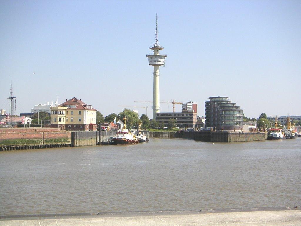 Bremerhaven - Geestemündung / Radarturm (links: das altes Lotsenhaus - bereits abgerissen), Бремерхафен