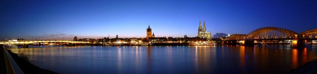 Rheinpanorama mit Hohenzollernbrücke, Kölner Dom, Groß St. Martin und Deutzer Brücke, Кельн