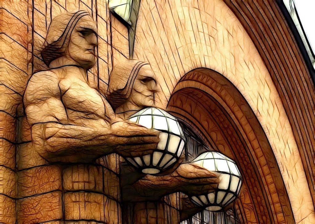 Statues (by Emil Wikström) outside Helsinki Central railway station  ©twe2009☼, Хельсинки