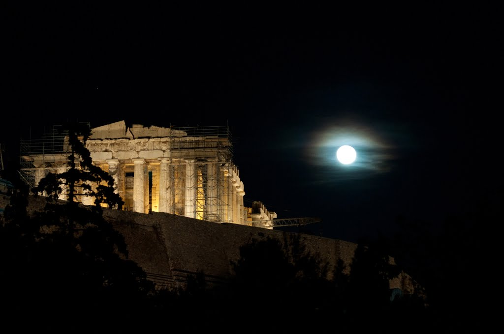 The Parthenon, a full moon  (click for higher quality), Афины