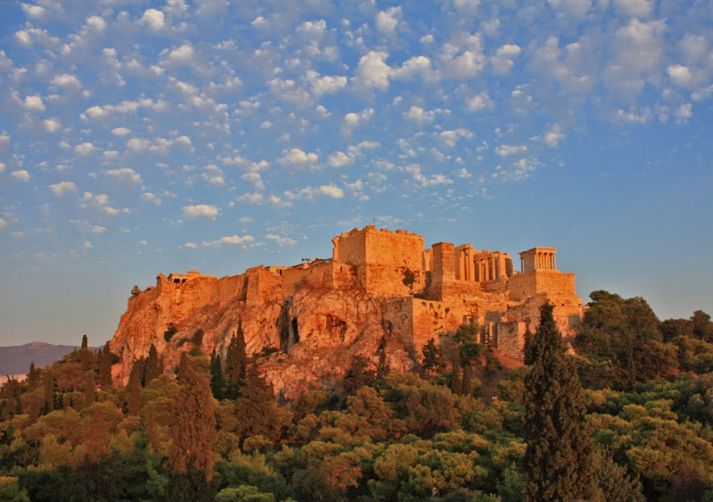 The Acropolis under the light of the sunset, Афины