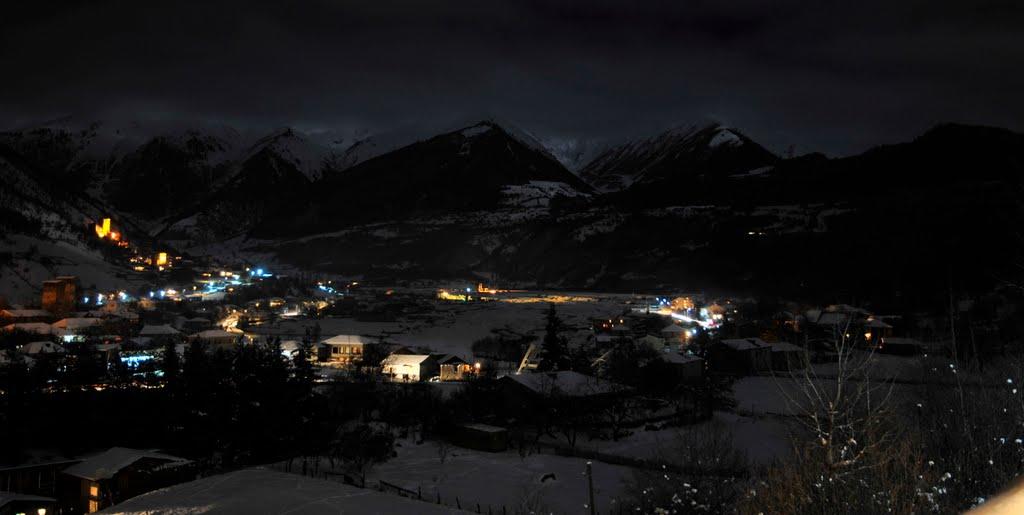 Night Mestia. Svaneti, Местиа