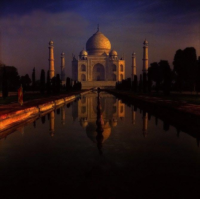 Agra Taj Mahal (Palazzo della Corona) - Old slide digitized, Аймер