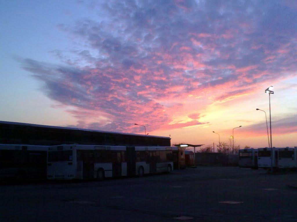 Bus in deposito al tramonto, Новара