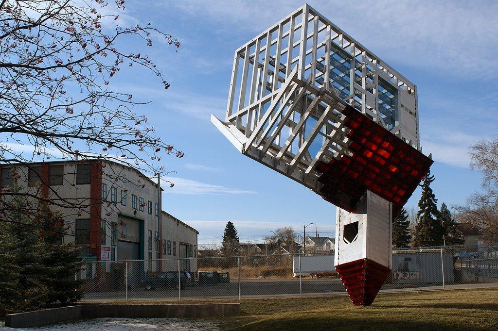 Dennis Oppenheims controversial upside down church sculpture, Calgary, Калгари