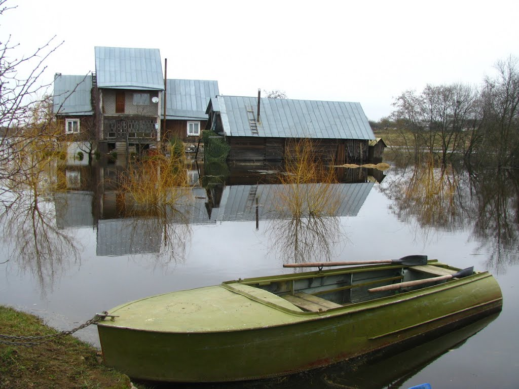 Весенний разлив реки Дрыса. Верхнедвинск. Drysa River spill. Verkhnedvinsk., Верхнедвинск