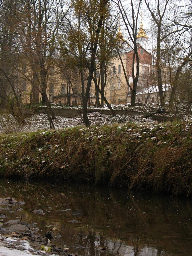 View to the Church of Resurrection from Vićba river-bed in Viciebsk, Витебск