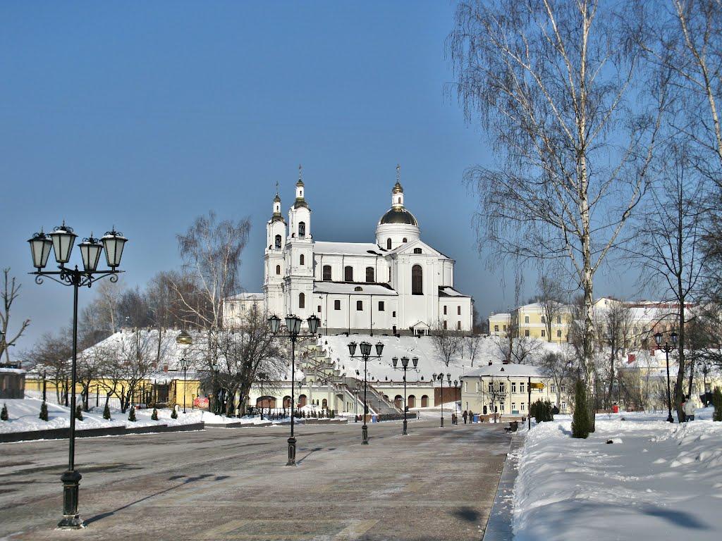 Uspensky Cathedral with street panorama, Витебск