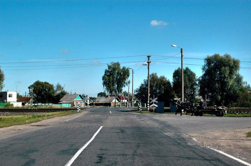 Жд переезд, Буда-Кошёлово, Автодорога Р-38, Гомельская область, Беларусь, Буда-Кошелево