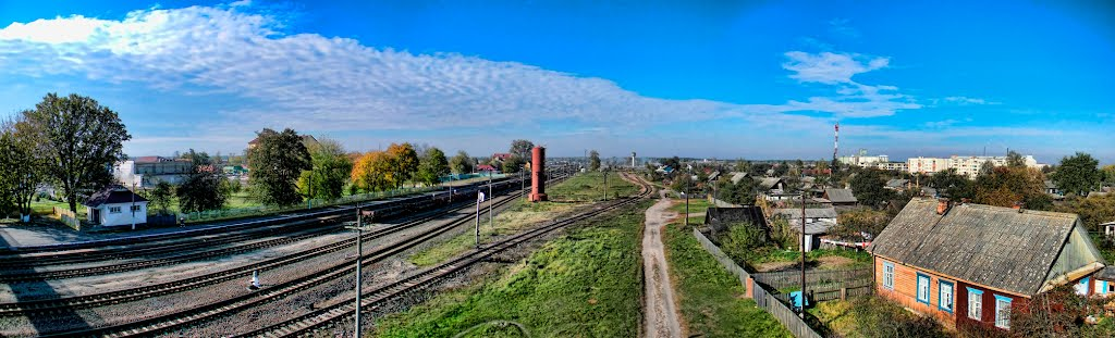 Вид с перехода (направление на Лунинец), Житковичи