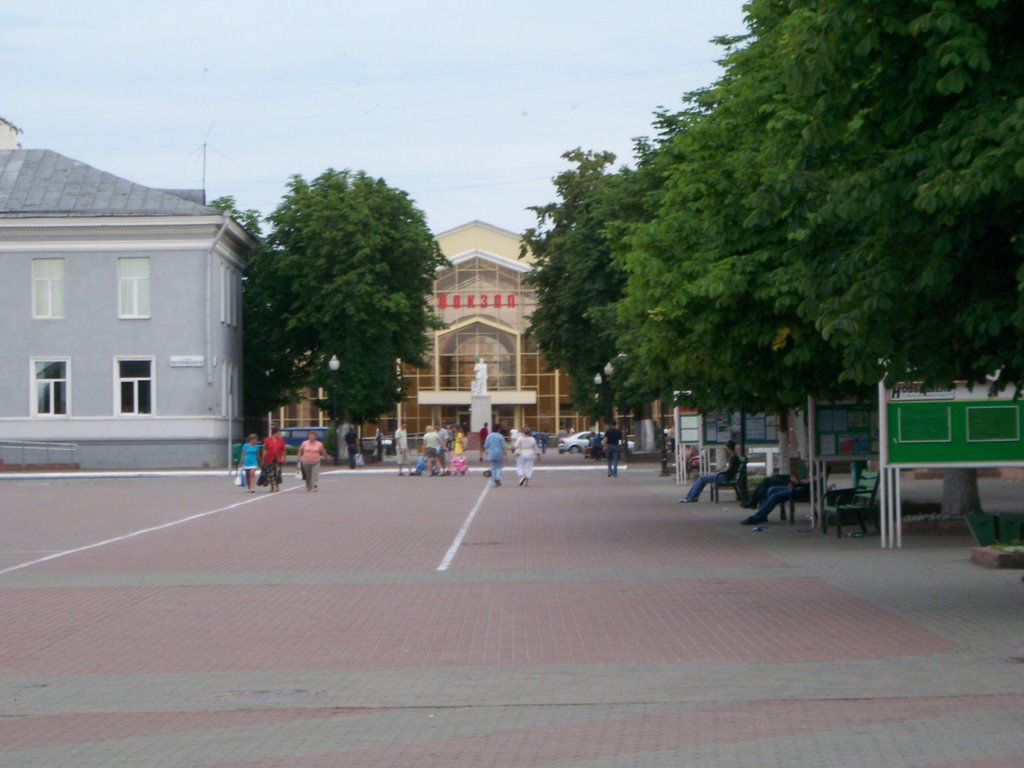 View on rail station through central square, Жлобин