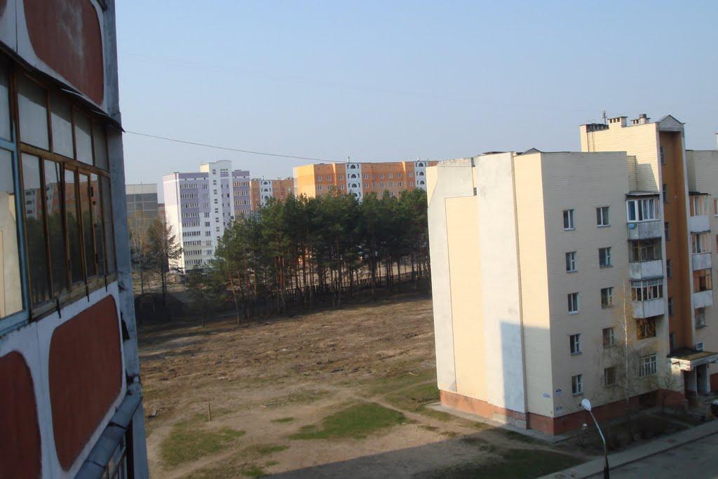 Svetlogorsk, vid s balkona na mikrorayon Polesye, Светлогорск