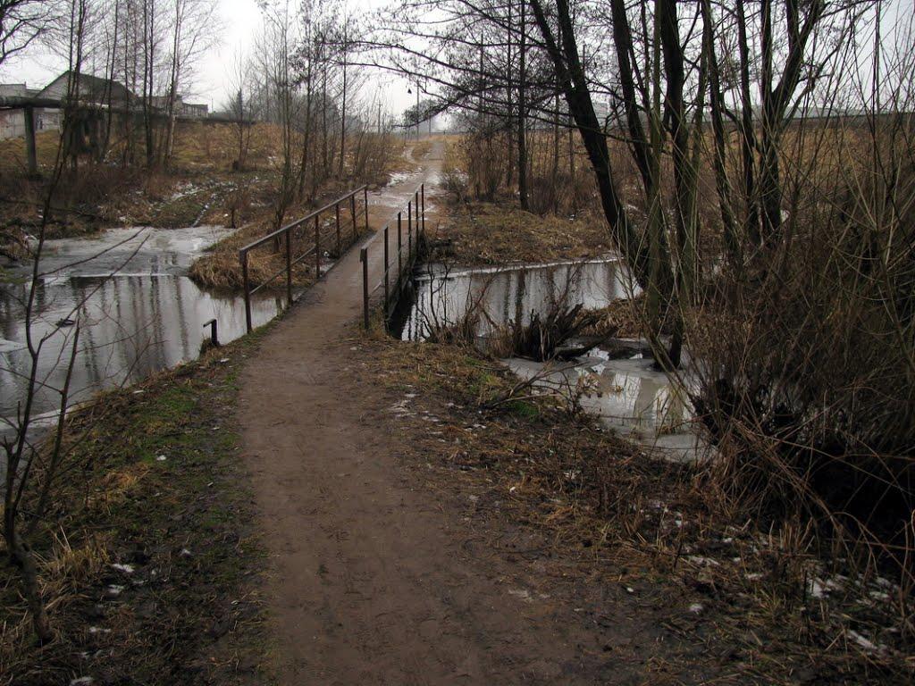Пешеходный мост. Река Оксна. Footbridge. Oksna river., Сморгонь