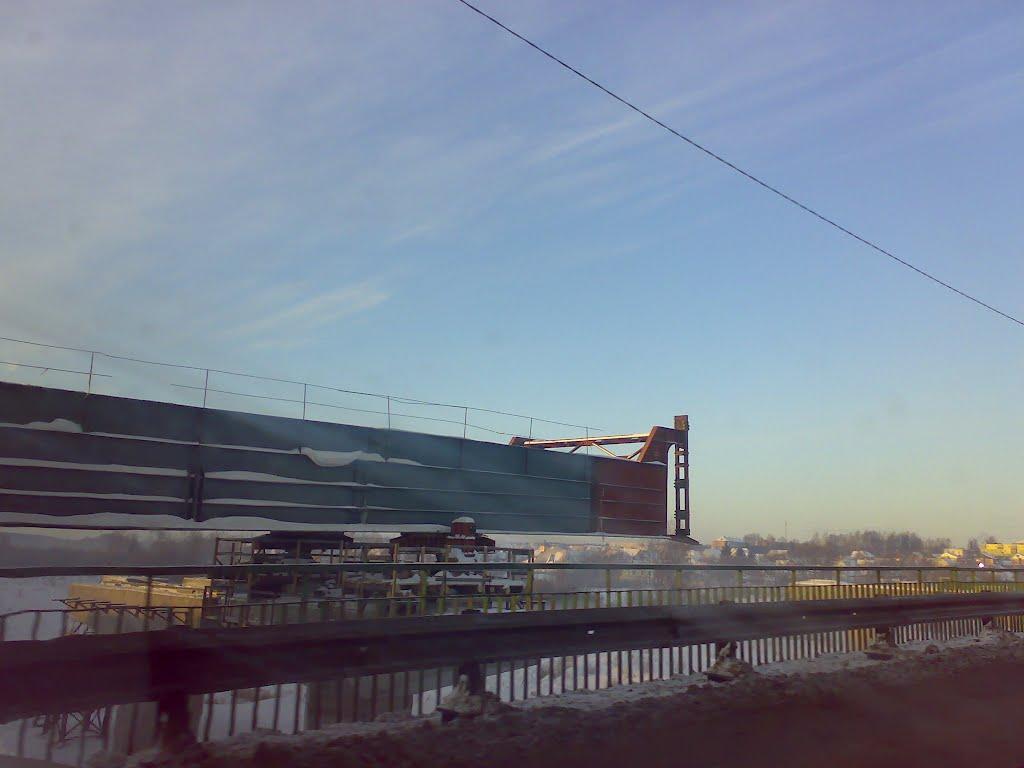 Надвижка пролетов нового моста, Березино