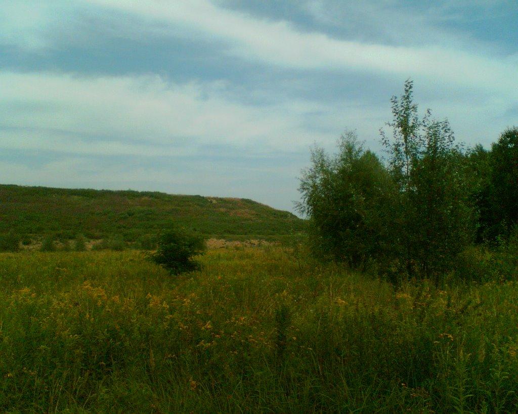 Marki - widok na górkę z ul.Okólnej - dawne wysypisko śmieci, Пионки