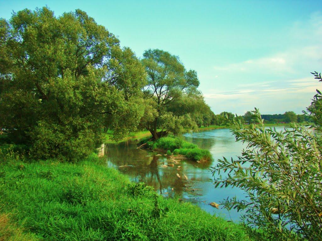 Sanok-rzeka San w okolicach skansenu.River San, Санок
