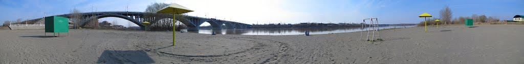Мост берез реку Бия. С пляжа, Бийск