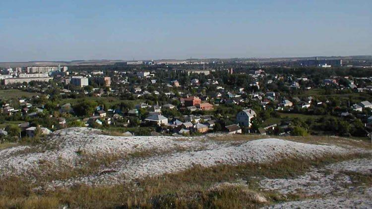 вид на город с меловой горы, Алексеевка
