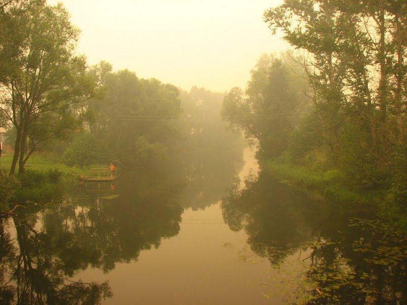 Дым лесных пожаров в Меленках. Река Унжа. (The smoke of forest fires in the Melenki. Unzha River), Меленки