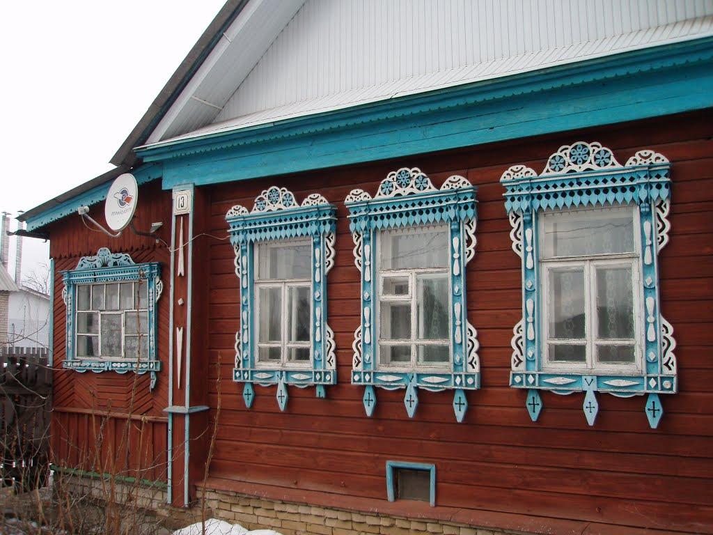 Windows of house #13 in Profsoyouznaya street, Петушки