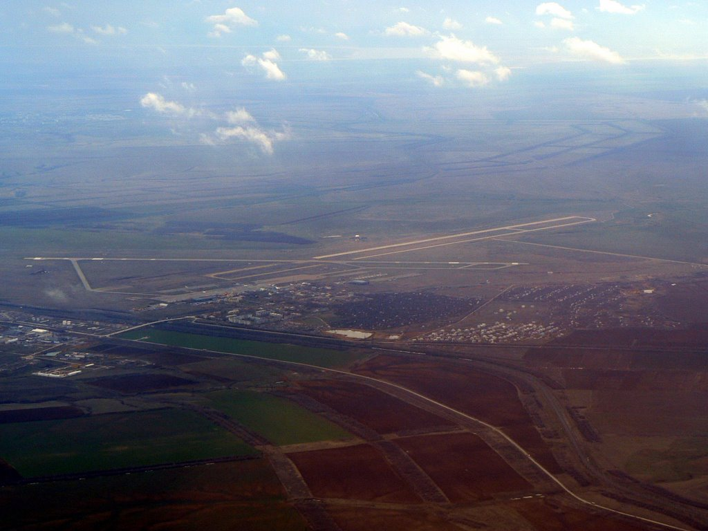 Airport Volgograd Gumrak, view on approach from the North, Алущевск