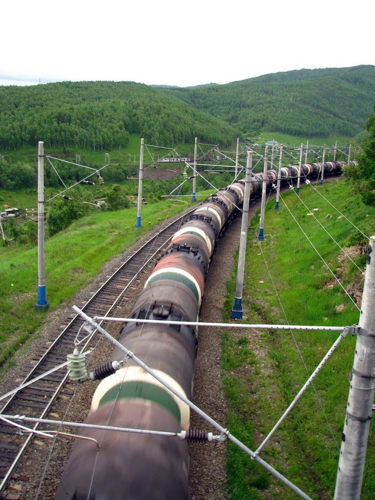 Ангасольская петля железной дороги перед п.Култук (июнь 2010г.), Култук