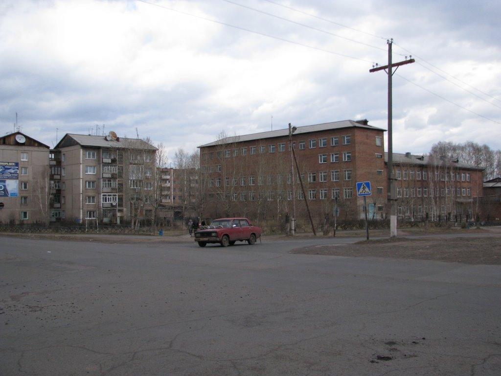 Main Street, School Number 2 on the right., Вихоревка