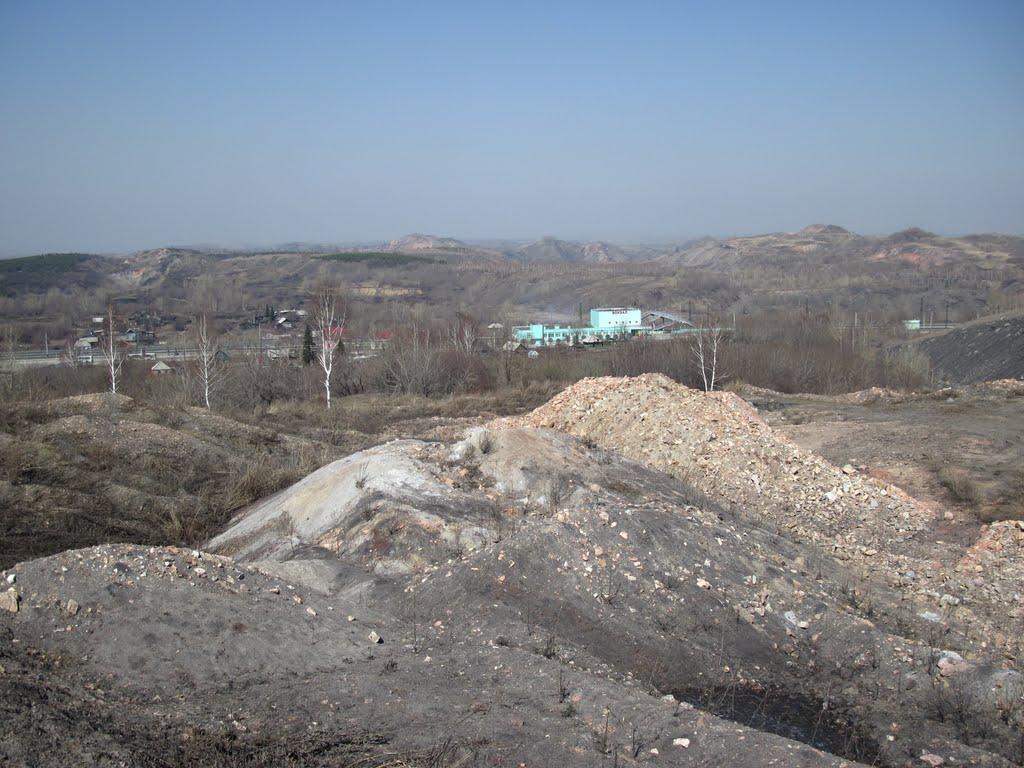 """Вид на ж-д вокзал с """"Цыганской горы"""", Киселевск"""
